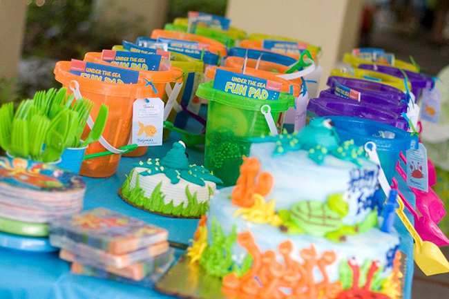 Under the Sea party favor buckets