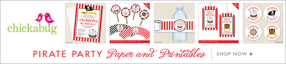 Pirate theme party paper goods and printables from Chickabug - www.chickabug.com