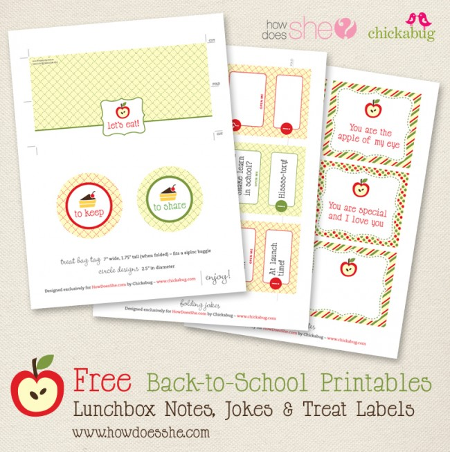 Free back-to-school printables from HowDoesShe & Chickabug