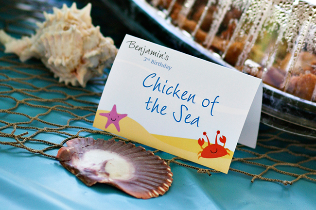 "Under the Sea party printables from Chickabug. ""Chicken of the Sea"" - CUTE!"