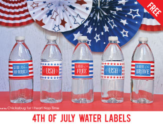 4th of July Water Labels