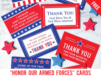 "Free printable ""Honor Our Armed Forces"" cards"
