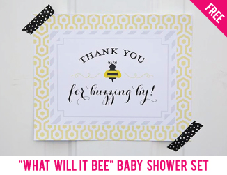 "Free ""What will it bee"" baby shower set"