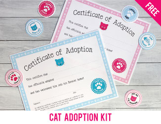 Free printable cat adoption kit