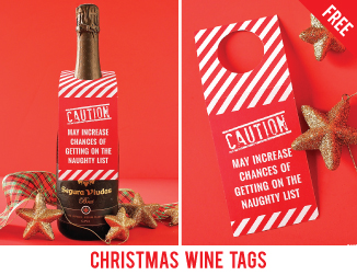 Free printable Christmas wine tags. Hostess gifts (or presents for your wine-loving BFFs) just got a lot more fun!! #chickabug #freeprintables