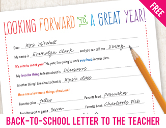 Free printable back-to-school letter to the teacher. Introduce your child and get the year off to a great start with this sweet (and practical!) Q&A!