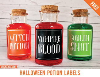 Free Halloween potion labels