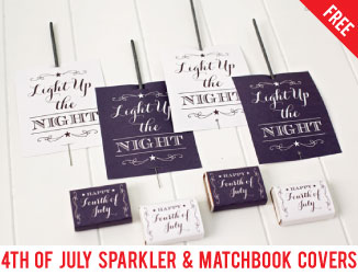 Free printable sparkler tags & matchbook covers for the 4th of July