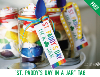 """St. Paddy's day in a jar"" free printable tag"