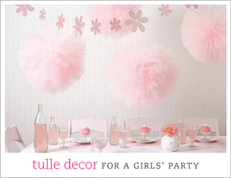 Tulle decor for a girls' party