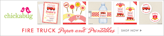 Fire truck theme party paper goods and printables from Chickabug - www.chickabug.com