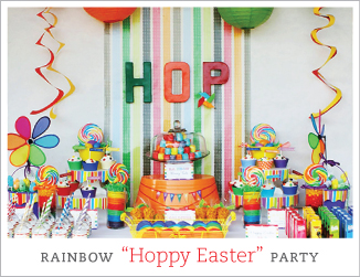 "Rainbow ""Hoppy Easter"" party"