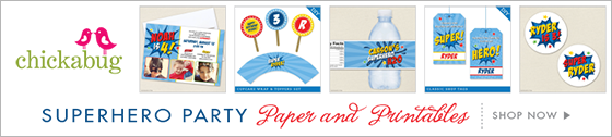Chickabug superhero party theme paper goods & printables