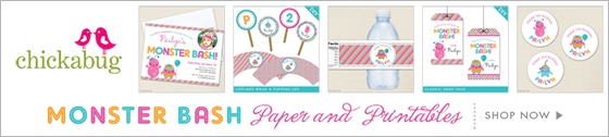 Chickabug monster theme paper goods & printables