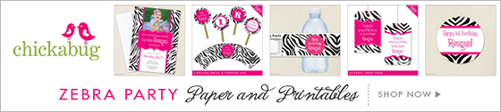 Chickabug zebra party theme paper goods & printables