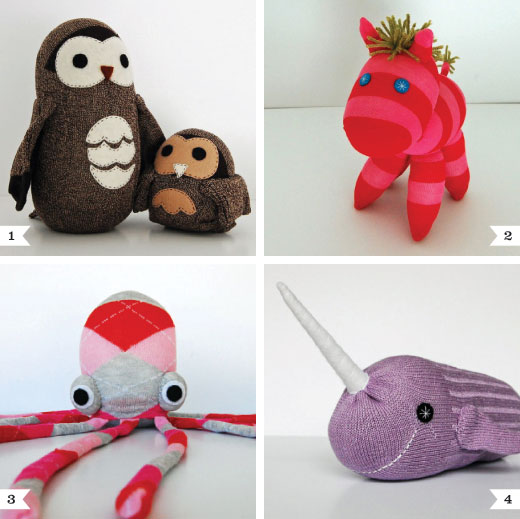 Little etsy shopping sock animals from the nesting spot chickabug