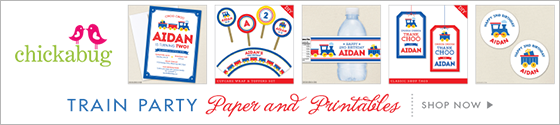 Train theme party paper goods & printables from Chickabug
