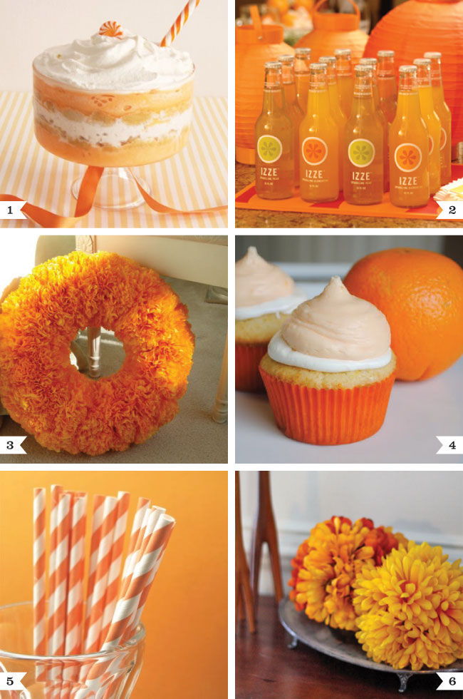 Orange party ideas - for a fruit theme, color theme, or fall party!