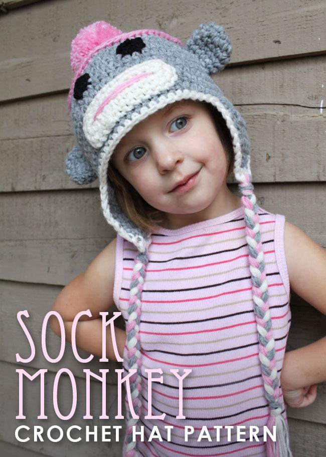 Sock monkey crochet hat pattern | Chickabug