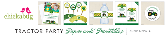 Chickabug tractor theme paper goods & printables