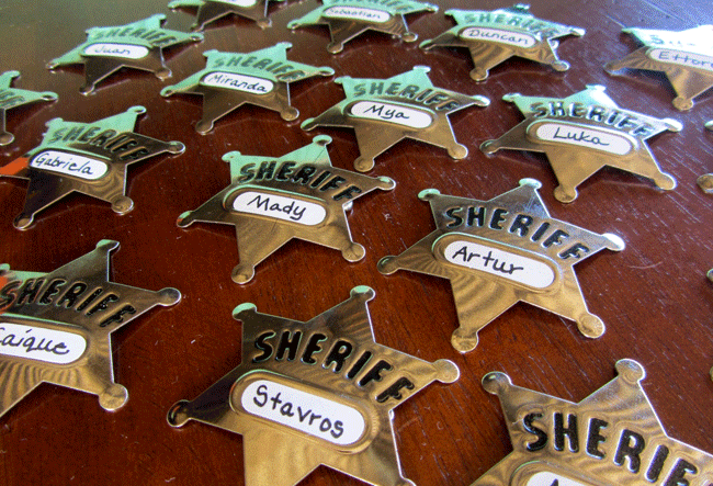 Each Little Party Guest Received A Personalized Sheriffs Badge To