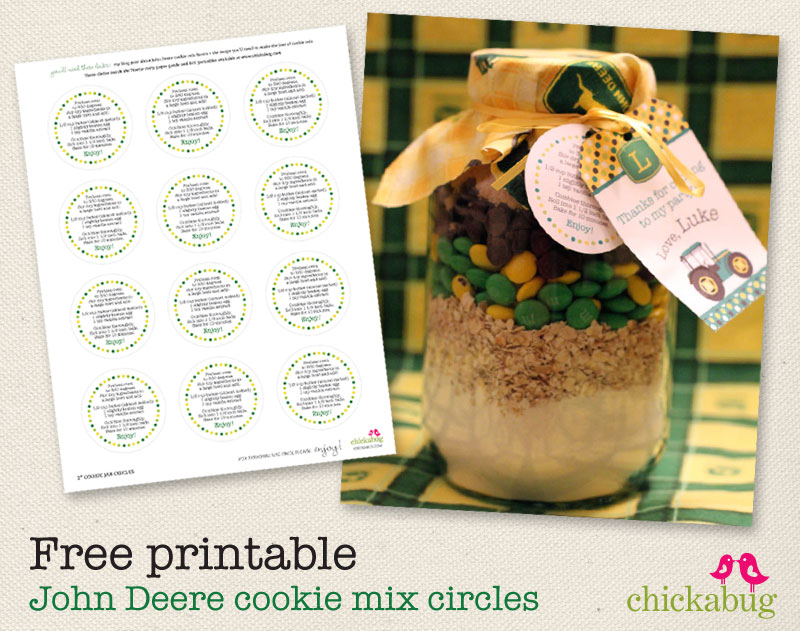 FREE printable recipe for John Deere cookies-in-a-jar