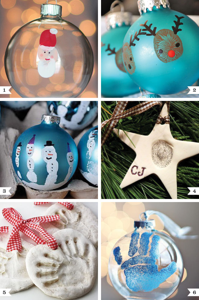 DIY handprint and thumbprint ornaments