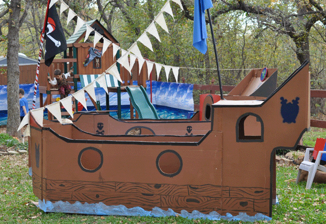 Pirate party jackson is 5 chickabug for Cardboard pirate ship template
