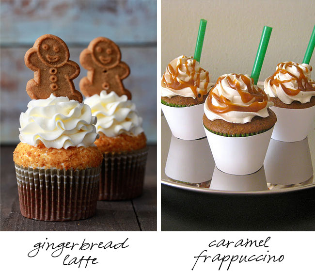 Starbucks cupcake recipes - gingerbread latte and caramel frappucchino!