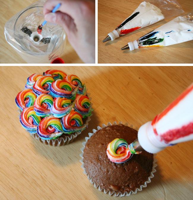Swirled Colored Icing Cake