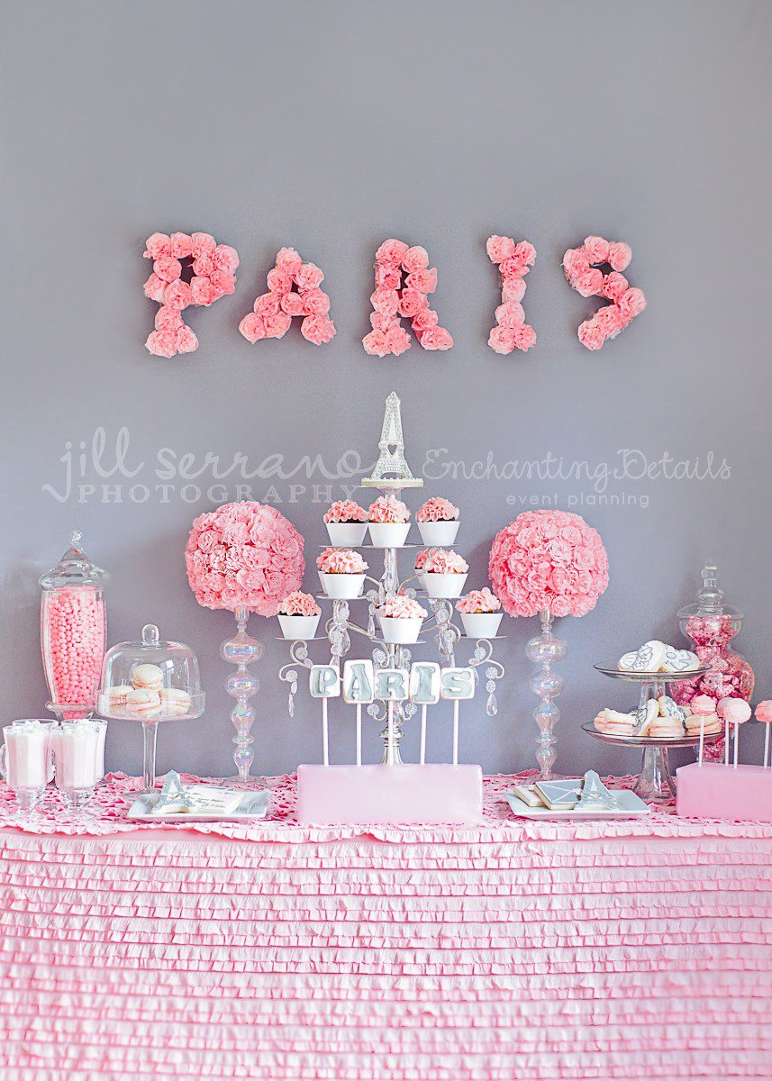 One pretty pin parisian party table chickabug - Pink baby shower table decorations ...