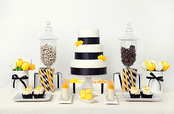 One Pretty Pin Black And Yellow Dessert Table