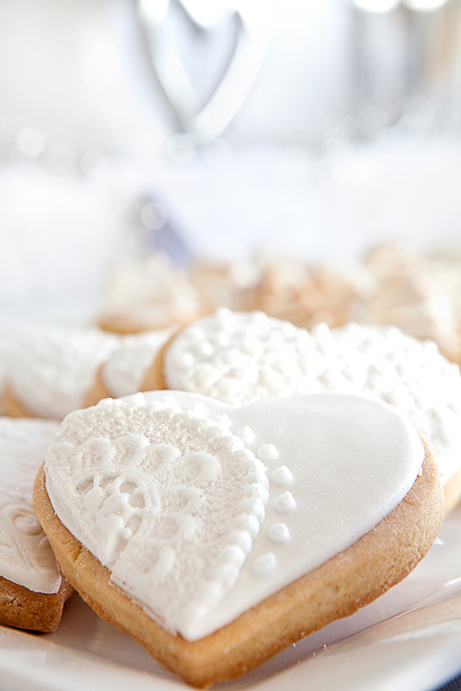 Heart shaped wedding shower cookies