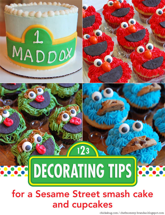Decorating tips for a Sesame Street smash cake and cupcakes Chickabug