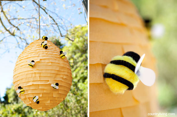 One pretty pin beehive pi ata chickabug for Bee decorations for the home
