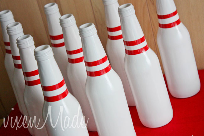 Creative red and white bowling party chickabug