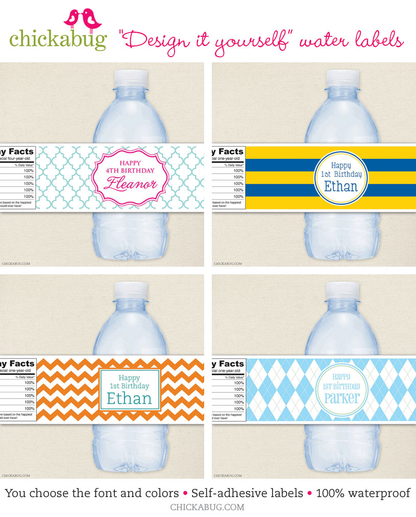 Custom water bottle labels to match any party theme for Bottled water label template