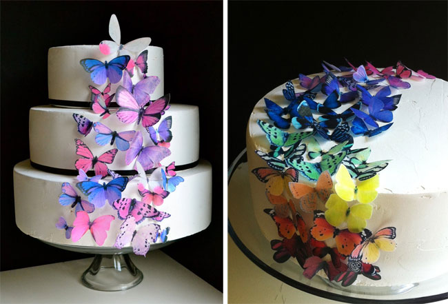 Edible butterfly cake toppers by Sugar Robot Chickabug