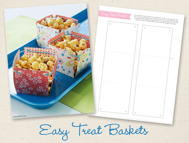 Easy treat baskets {with a free printable template}