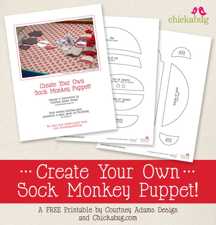 FREE printable sock monkey puppet template