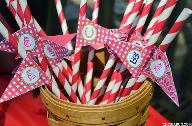 Country western printable straw flags