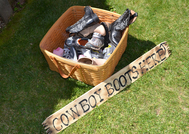 Country western cowgirl party - basket of boots
