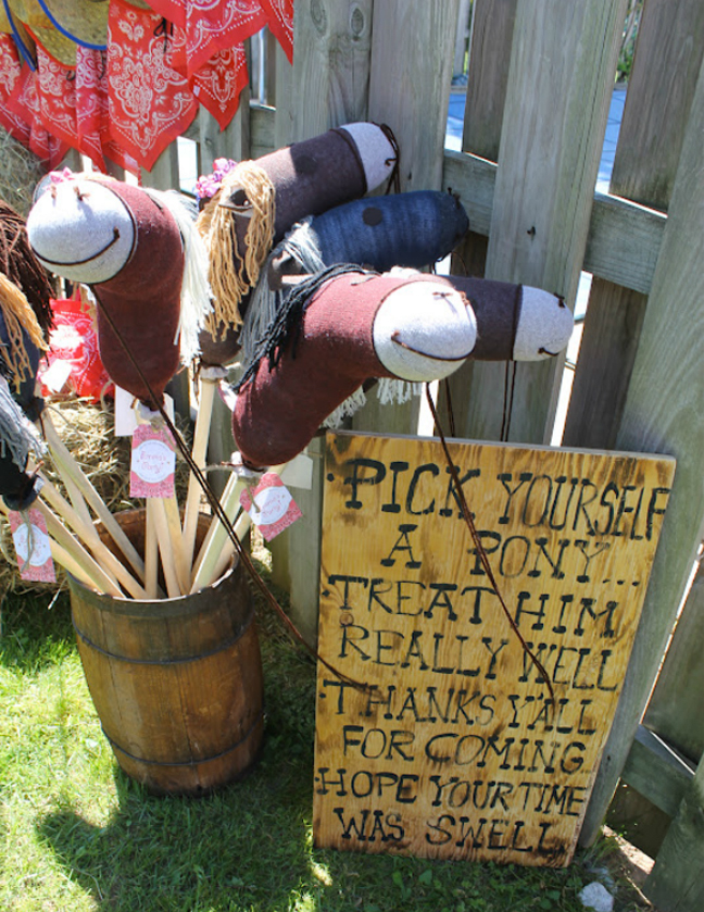 Country western party favor - handmade sock horses (links to tutorial)