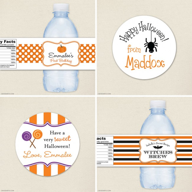 Halloween stickers and water labels available at Chickabug.com