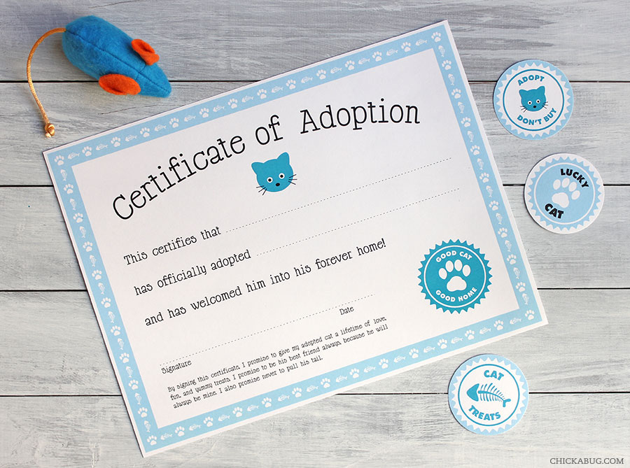 Free Printable Cat Adoption Kit | Chickabug