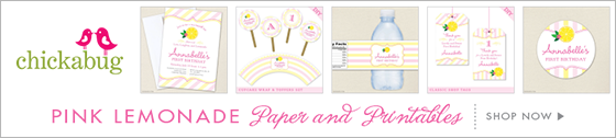 Chickabug pink lemonade theme party paper goods & printables