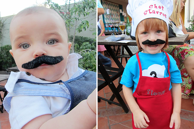 Cooking theme birthday party - kids in chef hats, aprons, and mustaches : )