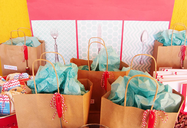 Cooking themed party goodie bags