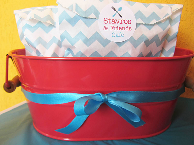 Cooking themed party - chevron treat bags and custom stickers