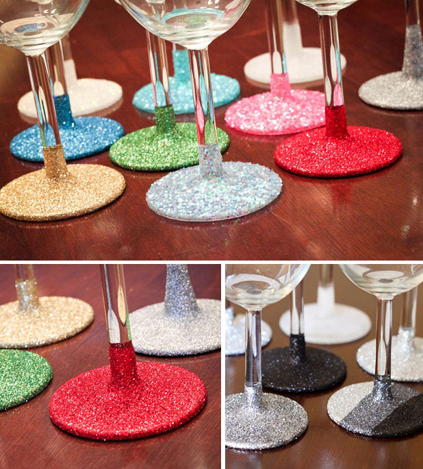 DIY washable glittered glassware